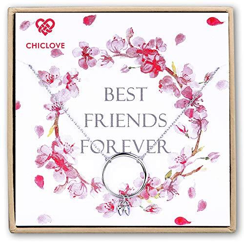 Chiclove Beste Freunde Halskette - Sterling Silber, Geschenk für sie, Freundschaft Schmuck, Brautjungfer Geschenke (Geschenke Schmuck Freundschaft)