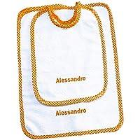 Crociedelizie, Set asilo 2 pezzi bavaglino asciugamano salvietta ricamo nome bimbo personalizzato