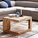 FineBuy Massiver Couchtisch PATAN 60 x 60 x 40 cm Akazie Massivholz Tisch | Wohnzimmertisch quadratisch mit Ablage | Holztisch Massiv Holz Beistelltisch