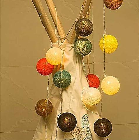 Brinny 4m/40 LEDs Batteriebetriebene String Licht mit Bunten Ball Auf, Festival Ambiente Beleuchtung, Sternenhimmel Fee String Licht für Garten, Weihnachtsbaum und (Batteriebetriebene Globe-leuchten)