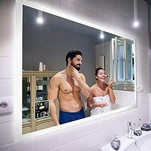 Badspiegel 100x90cm mit LED Beleuchtung - Wählen Sie Zubehör - Individuell Nach Maß - Beleuchtet Wandspiegel Lichtspiegel Badezimmerspiegel - LED Farbe zu Wählen Kaltweiß/Warmweiß L01