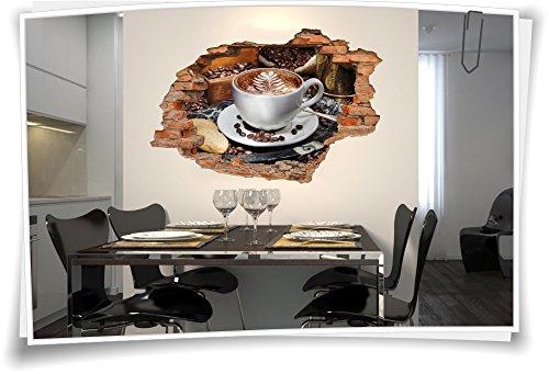 3D Wanddurchbruch Wandbild Wandtattoo Aufkleber Sticker Kaffee Kaffeebohnen Kaffeetasse Gebäck, 90x60cm