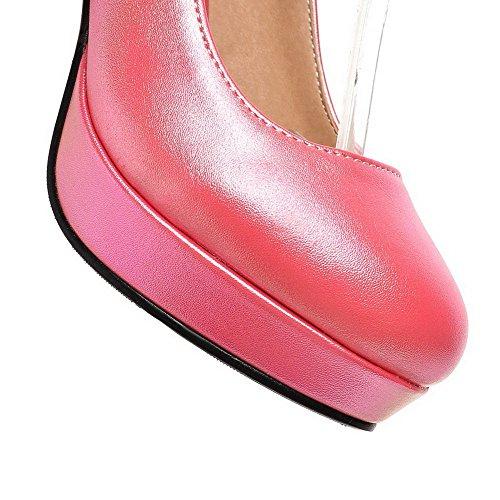 VogueZone009 Donna Fibbia Tacco Alto Luccichio Puro Punta Tonda Ballerine Rosa-Gioielli