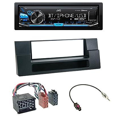 Einbauset-JVC-KD-X351BT-Radio-Bluetooth-USB-AUX-1-DIN-Radioblende-Fach-schwarz-ISO-Adapter-Rund-PIN-Antennenadapter-Fakra-DIN-fr-BMW-5er-E39-5er-E39-Touring-X5-E53-052000-092006