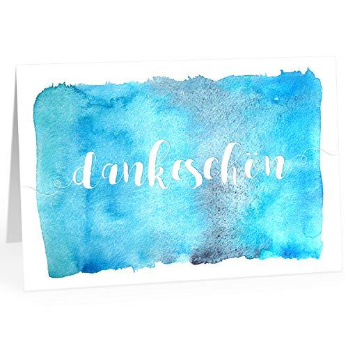 Große Dankeskarte XXL (A4) als Dankeschön/Dankeschön - Aquarell Look Blau/mit Umschlag/Edle Design Klappkarte/Danke sagen/Danksagung/Danke sehr/Extra Groß/Edle Maxi Gruß-Karte (Großes Danke-gruß-karten)
