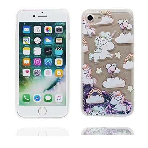"iPhone 7 Coque, Pink Love Skin Hard Clear étui iPhone 7, Design Glitter Bling Sparkles Shinny Flowing Apple iPhone 7 Case Cover 4.7"", résistant aux chocs Licorne cheval"