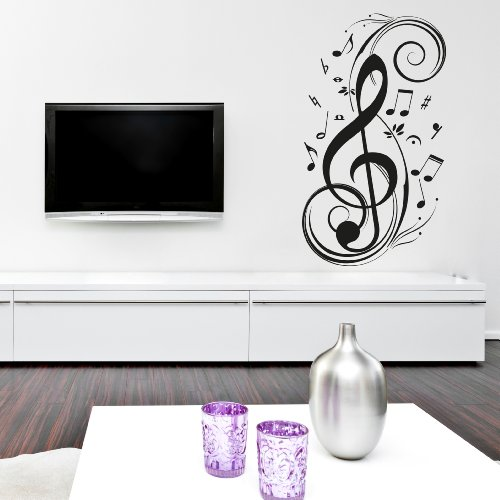 Adesiviamo chiave di violino m adesivo murale, pvc, nero, 120 x 18 cm