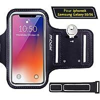 """Mpow Brassard Sport iPhone 6/6S Samsung S7/ S6/ S6 Edge/S5, 5.1"""" Etui Brassard Sports Sweatproof Armband Case pour Le Jogging/Gym/Sport, Confortable avec 2 Sangles réglable, Noir"""