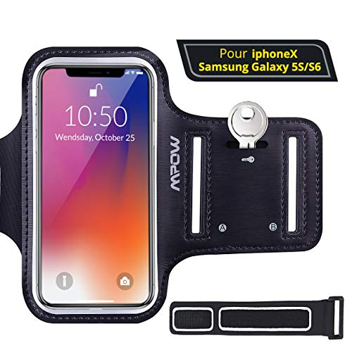 Mpow MSA4N-fr, Sportarmband für Samsung Galaxy 5,1-Zoll-Handy, Anti-Sweat, Schlüsselhalterung, 2 verstellbare Träger, schwarz