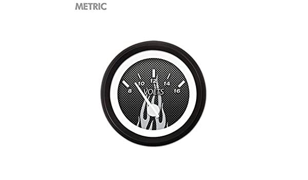 White Modern Needles, Black Trim Rings, Style Kit Installed Aurora Instruments 5452 Carbon Fiber Gray Flame Metric Volt Gauge