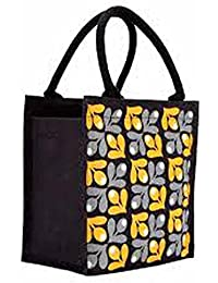 Generic Puneri Unisex Stylish Floweral Print Jute Tiffin Bag With Zip Red Color
