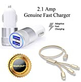 #10: Wonderford Metal Dual USB Port Universal Genuine 2 Amp Fast Car Charger With Fiber 3 in 1 USB Charging Cable Compatible with Xiaomi, Lenovo, Apple, Samsung, Sony, Oppo, Gionee, Vivo Smartphones Compatible with Xiaomi, Lenovo, Apple, Samsung, Sony, Oppo, Gionee, Vivo Smartphones (One Year Warranty,Colour may vary)