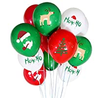 ‏‪50 Pieces Christmas Latex Balloons - 12 Inch Red Green White Balloons for Christmas Party Decorations, School Classroom Game, Kids Giveaway‬‏