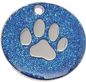 Just Pets Quality Enamel Blue Glitter Dog Tag, Dog Paw Design, Personalised, Engraved Free by Phoenix Engraving & Gifts