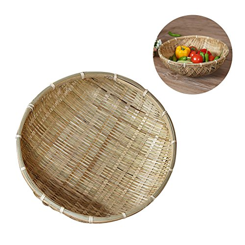 Picknickkorb, handgefertigt hand-woven Bambus Korb Dustpan Obst, Gemüse Snack-Set Aufbewahrungskorb
