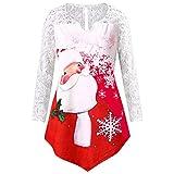 BaZhaHei Damen Weihnachten Karneval Stil Frohe Weihnachten Weihnachtsmann Große Größe Spitze spleißen Weihnachten Drucken irregulär Mantel Tops Bluse Shirt