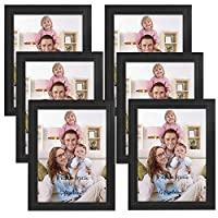 AMERTEER [ Pack of 6 ] Picture Frames Set 4x6, 5x7, 8x7 inches Wood Photo Frame Set for Wall Decor Kitchen, Gallery or Tabletop Office Décor Black (8 x 7)
