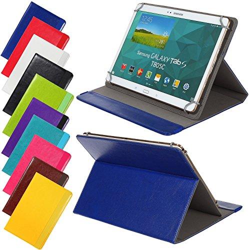 Universal elegante Kunstleder-Tasche für verschiedene Tablet Modelle (9 /10 /10.1 Zoll, Blau) Größe Schutz Case Hülle Cover Neigungswinkel verstellbar, mit Gummibandverschluss in gleicher Farbe