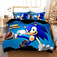 Vampsky Sonic The Hedgehog Teenagers And Anime Fan Household Bedding 3 Piece Set With Zipper Closure, 100% Microfiber Japanese Anime Characters 3D Print 1 Duvet Cover & 2 Pillow Shams