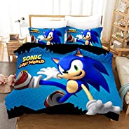 Vampsky Sonic The Hedgehog Teenagers And Anime Fan Household Bedding 3 Piece Set With Zipper Closure, 100% Microfiber Japane