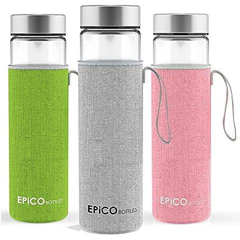 EPiCO BOTTLES Clásica 600ml | Botella de Cristal | Botella de Vidrio Para Agua, Bebidas, Té, Café, Jugos, Zumos | Reutilizable, Portátil | Con Funda | Ideal para Deportes, Yoga, Senderismo | Sin