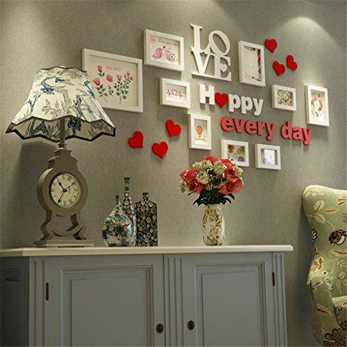 GUOPENGFEI® Massivholz Bilderrahmen Wand Europäisch Fotowand Wohnzimmer Hintergrundwand Schlafzimmer Bilderrahmen Hängende Wand Kreativ Kombination Verheiratet Geschenk