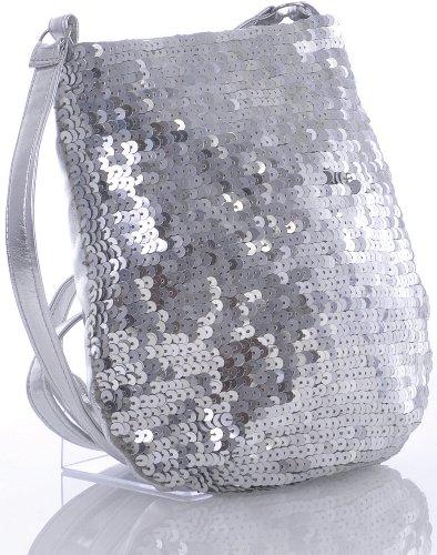 VINCENT PEREZ Borsetta, Borsa a tracolla, Pochette di raso increspato con strass e tracolla rimovibile (120cm) argento