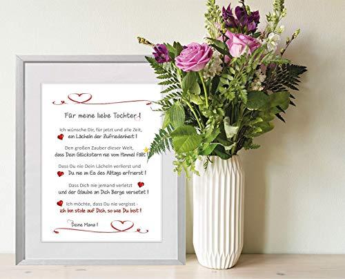 """""""Für meine liebe Tochter"""" - liebevoll gestalteter, personalisierter Kunstdruck als Geschenk für die Tochter - 24 x 30 cm mit Passepartout - ohne Rahmen - beste Tochter, liebe Tochter, Geschenk Tochter"""
