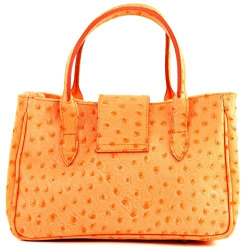 Borsa donna mini, vera pelle italiana, effetto coccodrillo, TL03 Strauß Orange