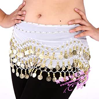 Chiffon Dangling Gold Coins Belly Dance Hip Scarf (White)