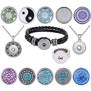 Morella® Damen 10 Click-Button Starter-Set mit 2 Halsketten Edelstahl, Armband und Ring