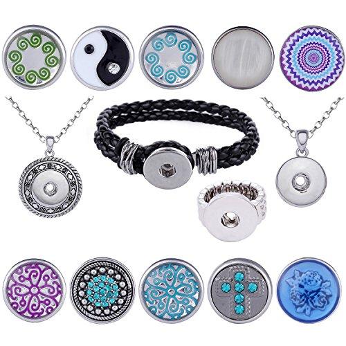 Morella donna Click-button 2Starter Set con 10in acciaio inox collana, bracciale e anello