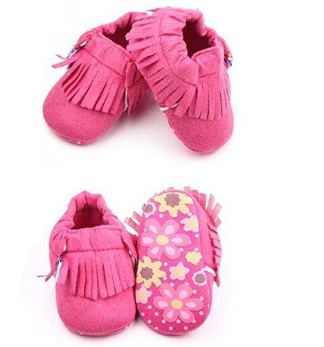 Lucky staryuan ® Baby-Säuglings-Tassel weiche Sohle Lederschuhe Jungen Mädchen Kleinkind -Schuhe (11cm, Rosa) rot