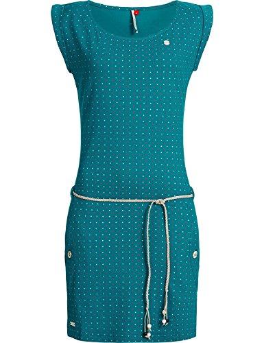 Ragwear Damen Baumwoll Jersey-Kleid Tag Dots Türkis Gr. S (Kleider Damen Türkis)
