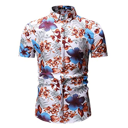 Poloshirts Herren Sommer Kurzarm Kontrast Polohemd Polo Shirts Printed Button Regular Fit Hawaii Hemd Strand Knopf Hemden Top Blouse