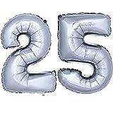 DekoRex ® Folienballon Zahlenballon Luftballon Geburtstag Deko 40cm Silber Zahl: 25