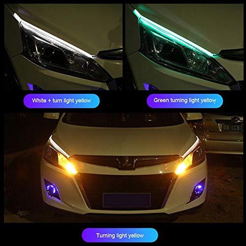 MOGOI DRL LED Strip, 7 Colori Daytime Running Light Indicatori di direzione Impermeabile LED Headlight Surface Strip Tube Lampada Decorativa Neon Lights con Telecomando, 1 Paio