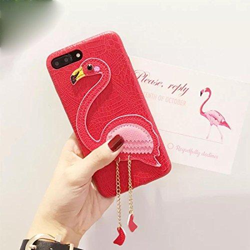 Hülle für iPhone 7 plus , Schutzhülle Für iPhone 7 Plus Dreidimensionale Flamingo Pattern Kunstleder Schutzhülle ,hülle für iPhone 7 plus , case for iphone 7 plus ( Color : Magenta ) Red