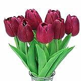 Turelifes, tulipani artificiali a stelo singolo, sembrano veri al tatto, in poliuretano, bouquet di tulipani per la decorazione della casa, 10 pezzi Purple