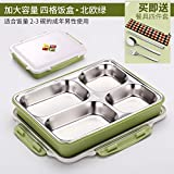 Luckyfree Lunchboxen Mittagessen 304 Edelstahl Bento Boxen für Studierende Erwachsene Kinder das Essen bei einem Picknick Container restaurant Snack Tray, Kapazität von vier Gitterboxen Grüne erhöhen