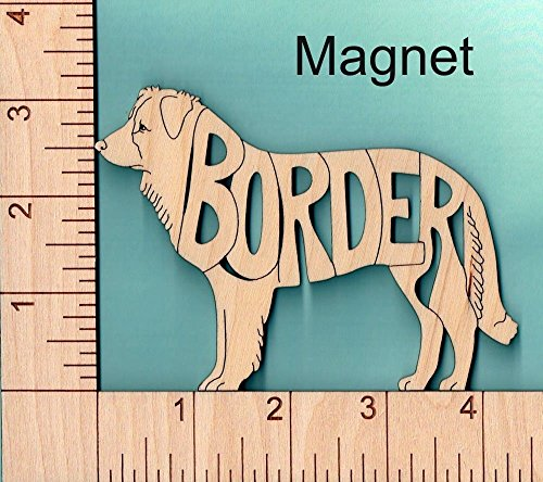 Holz Magnete Border Collie Hund Geschenk–Einzigartiges Laser geschnitten und mit Breed Name eingraviert. (Hund-magnet Collie)
