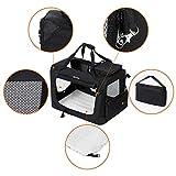 Songmics Faltbare  Oxford Gewebe Hundebox Katzenbox Hundetransportbox – L 70x52x52cm Schwarz PDC70H - 4
