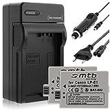 2 Batteries + Chargeur (Auto/Secteur) pour Canon LP-E5 / EOS 450D, 500D, 1000D / Rebel T1i, XS, Xsi