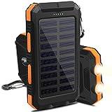 OKE 10000mAh Solar Power Bank, Solar Ladegerät, Externer Akku mit superhelle Taschenlampe, Akku pack für Handy ( schwarz und orange)