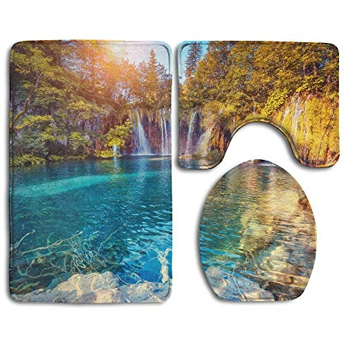 Sunny Beam (Majestic View On Turquoise Water and Sunny Beams In The Plitvice Lakes National Park Croatia Bathroom Rug 3 Piece Bath Mat Set Contour Rug and Lid Cover)
