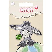 NICI burro trébol - 6,8 cm * 5,8 cm - parche bordado HotFix - caballo de peluche animales de granja es el gris y el trébol de la suerte con forma de casa