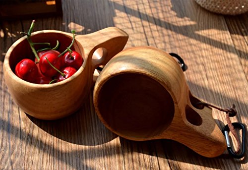 simple point Nordic Style Handmade Kuksa Wooden Portable Travel Cup/Coffee Mug/Drinking Cup/Camping Mug (diplopore/200ML)