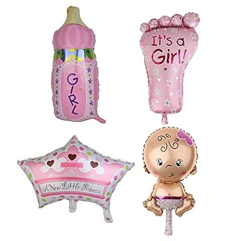 Gazechimp Lot 4pcs Ballon Feuille Aluminium Pied/Biberon/Couronne/Bébé Accessoire Baby Shower Rose