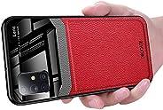 جراب لهاتف Galaxy A71، جراب واقٍ من الزجاج الهجين المقاوم للانزلاق من Ikwcase Business Slim Litchi Skin مضاد ل