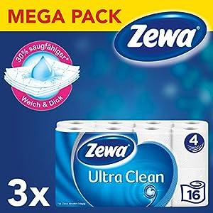 Zewa Toilettenpapier Trocken Ultra Clean 3 Packungen 4 Lagen, 16×135 Blatt